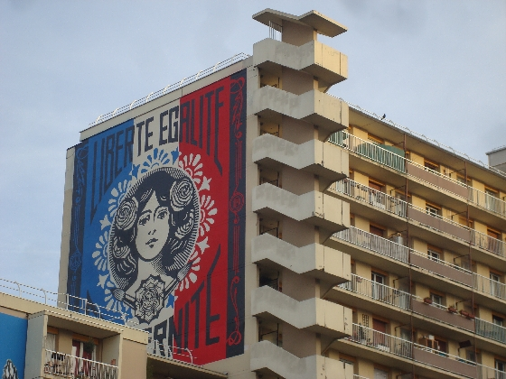 une œuvre de Shepard Fairey à Paris 13e, photo Alina Reyes
